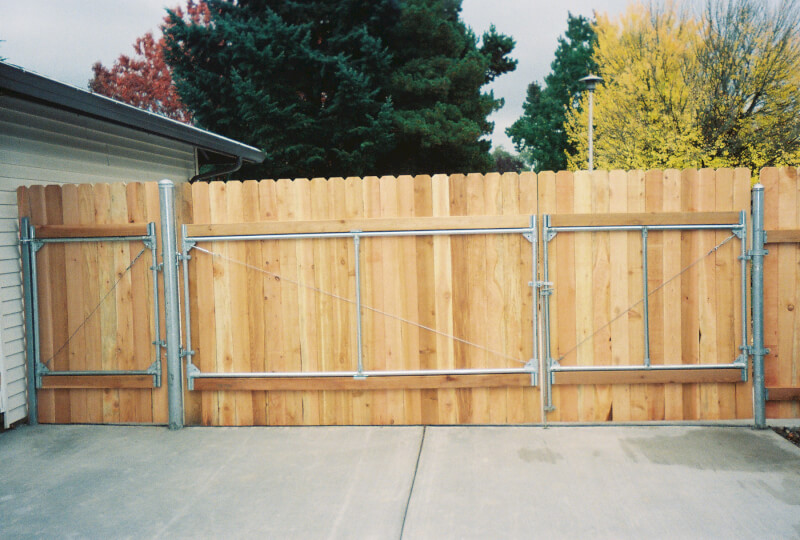 The Fenceman's Custom Steel Frame Gate not visible from street